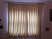 Fully Lined Cream Short Curtains and Curtain Pole