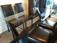 Glass Topped Table & 4 Dining Chairs