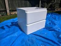 SLIGHTLY DAMAGED White double drawer sink cabinet (wall hung)