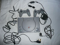 PS1 Playstation console, 2 x controllers, all cables, plus memory cards
