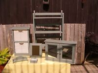 Shabby Chic Bathroom set. Upcycled Cabinet, Shelves, Storage cupboard, Mirror etc