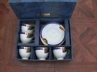 BNIB Kansai Fine China 5 Tea Cup & Saucer Set Blue & Gold Excellent condition!