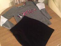 Size 6/Christmas Jumper & Black Lycra Skirt