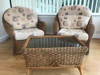 Wicker Conservatory Furniture - 2 seater sofa, 2 arm chairs and glass top coffee table