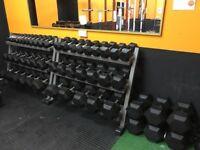 Used 1kg - 40kg Rubber Hex Dumbbell Set - Weights Gym - 740kg