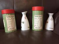 Two Sake bottles and Six Rice/Soup bowls- ideal for Sushi/ Japanese food