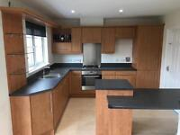 Modern Fitted Kitchen (Cherry) incl. Sink, Zanussi Hob and Oven - for Westhill Collection
