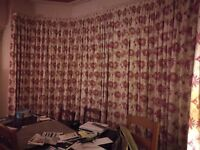 "Curtains. Custom made by Laura Ashley. Kimono Cranberry Floral fabric. Fit 12' wide x 90"" drop"