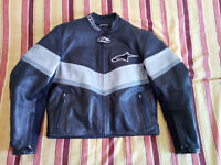 BARGAIN Alpinestars Leather Motorcycle Jacket Ladies UK 8 or 10 EURO 48 Black / Grey