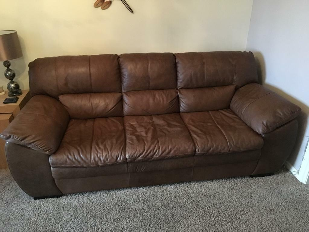 Brown /tan leather 3 piece and 2 piece sofa