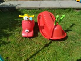 Toddle motor bike Fisher price & rocking catipilar