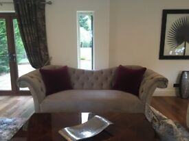 Silver grey velour chesterfield sofa