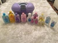Johnsons baby bath and body box with products for baby / newborn girl / boy