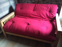 Beautiful solid oak bed frame, 2 seat futon by Futon company with mattress, vgc, rrp £649