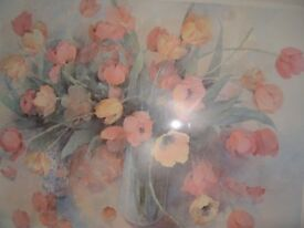 Beautiful large beech framed print of Poppies