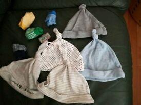 0-3m unworn hats & socks