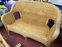 Two x two seater wickers chairs plus wicker table