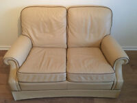 Used 3-piece Leather Suite in cream with coffee trim