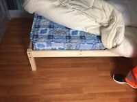 Single Bed Wooden Frame Pine Colour with Tanya Matress x 1