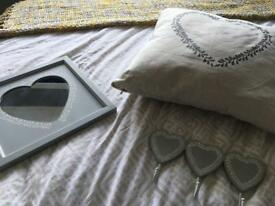 Sainsbury's Home heart cushion, hook & mirror shabby chic rustic