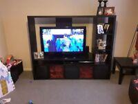 Large ikea tv unit black