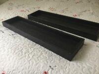 Dark wood Shelving display units