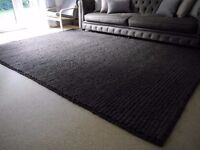 Dark charcoal grey, large bouclé rug, hand-woven from felted wool (Rectangle)