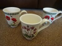 New 3 Portmeirion Mugs Botanic Garden Cyclamen Poppy and Hydrangea ideal wedding gift present