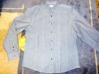 Designer Clothes - River Island Full Sleeve Shirt, XL, Blue/White Pin Stripe