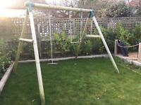 Wooden swing and play frame