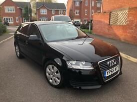 2009 AUDI A3 1.9 TDI SE 5 DOOR SPORTBACK FACELIFT BLACK MUST SEE BARGAIN MAY PX