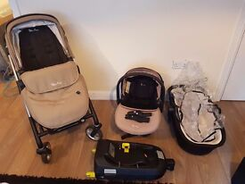 Silver cross wayfarer (sand colour). Pushchair, carrycot, carseat and isofix base
