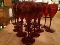 Red Plastic Piper-Heidsieck champagne glasses