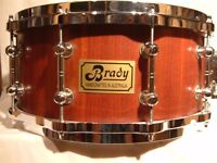 "Brady Jarrah Stave snare drum - Australia - Early model - 14 x 6 1/2"""