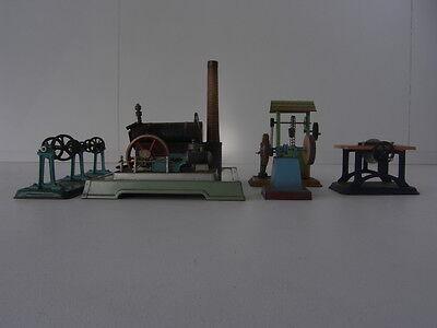 Alte Fleischmann Dampfmaschine mit Zubehör, 5-teilig Blechspielzeug