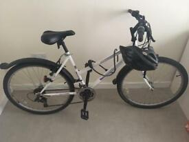 Bicycle with lock, helmet, unopened rear rack & bag and brand new front and rear lights