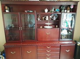 Large Mahogany Dresser, Mahogany Glass Unit