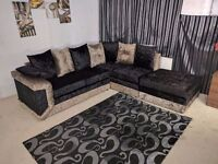 EXPRESS DELIVERY UK | NEW DINO SOFA BLK/GOLD CRUSHED VELVET CORNER OR 3+2 SEATER | 1 YEAR WARRANTY