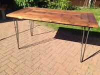 Rustic dining table , reclaimed timber & hairpin legs