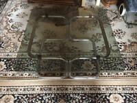 Coffee table glasses and stainless steel good condition 71x71x 35 used £10