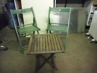 2 FOLDING CHAIRS AND SMALL TABLE