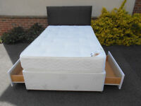 4ft Divan bed with 2 storage drawers and headboard