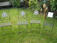 4 metal Folding Garden bistro dining chairs with decorative tiled back panel