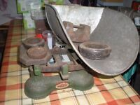 1950's greengrocers scales and heavy weights for weighing vegetables