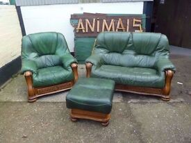 Leather Tub sofa With Wood frame And Draws with Foot Stool Delivery Available £25