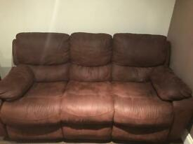 2 FAUX SUEDE 3 SEATER MANUAL SOFAS