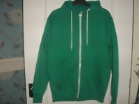 GENTS GREEN HOODED ZIPPER SIZE LARGE .SEE PICTURES