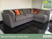 Designer Buoyant Phoenix Corner Sofa + Stool £699