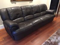 GENUINE LEATHER SOFAS, CHOCOLATE BROWN, EXCELLENT CONDITION, RECLINERS, 1,3,4 SEATER
