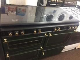Black & green stoves 110cm dull fuel cooker grill & double ovens good condition with guarantee